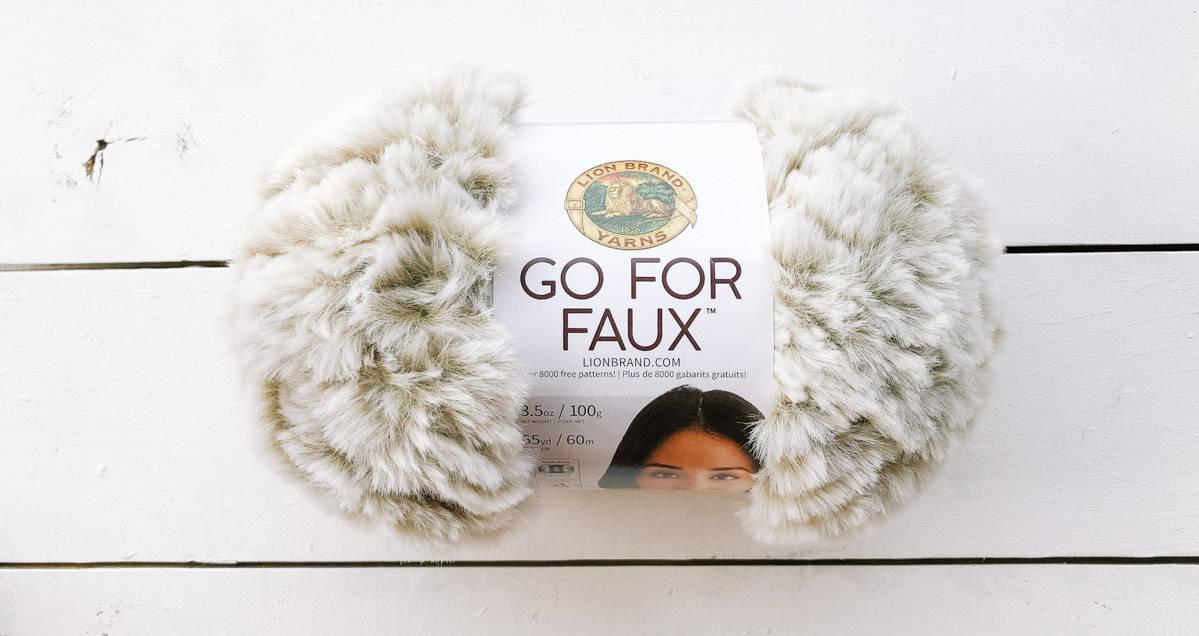 Lion Brand Go For Faux fur yarn in the color blonde elk.