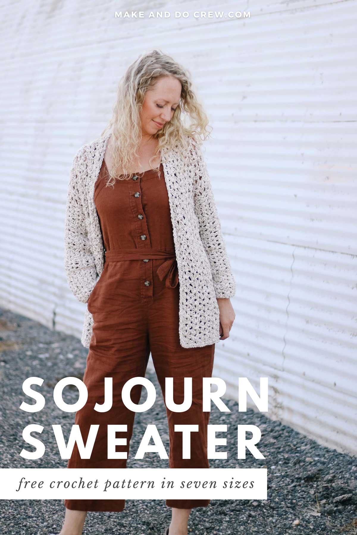 Blonde woman wearing a casual crochet jacket made with the iris stitch and Lion Brand Twisted Cotton Blend yarn.