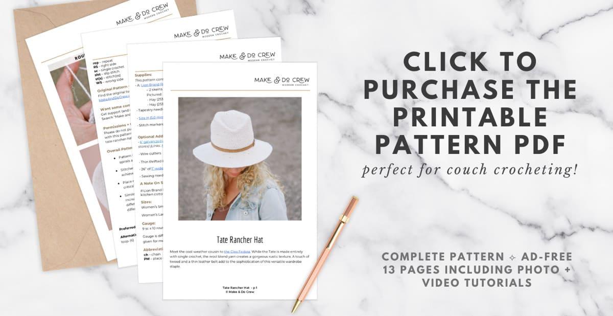 Tate Crochet Rancher Hat pattern PDF download.
