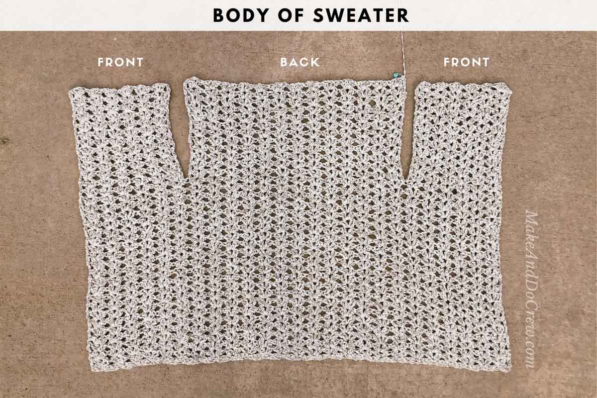 TUTORIAL: The back and front sections of the Sojourn Sweater Jacket crochet pattern.
