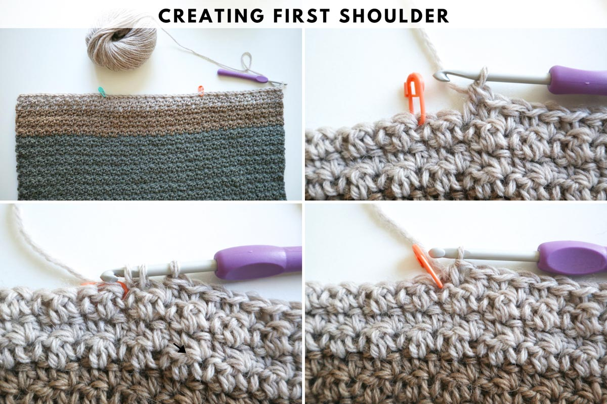 How to create a shoulder for a crochet v-neck sweater.