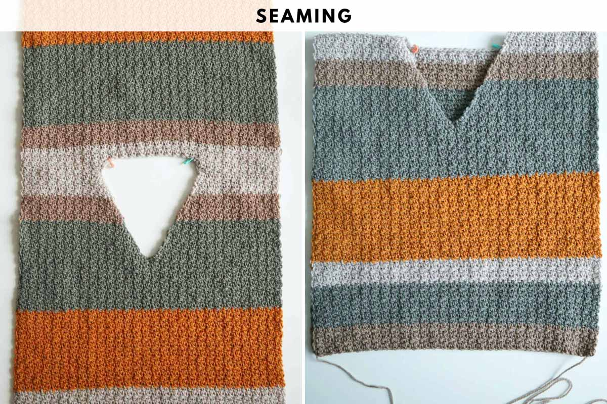 Crochet photo tutorial for v-neck sweater - seaming.