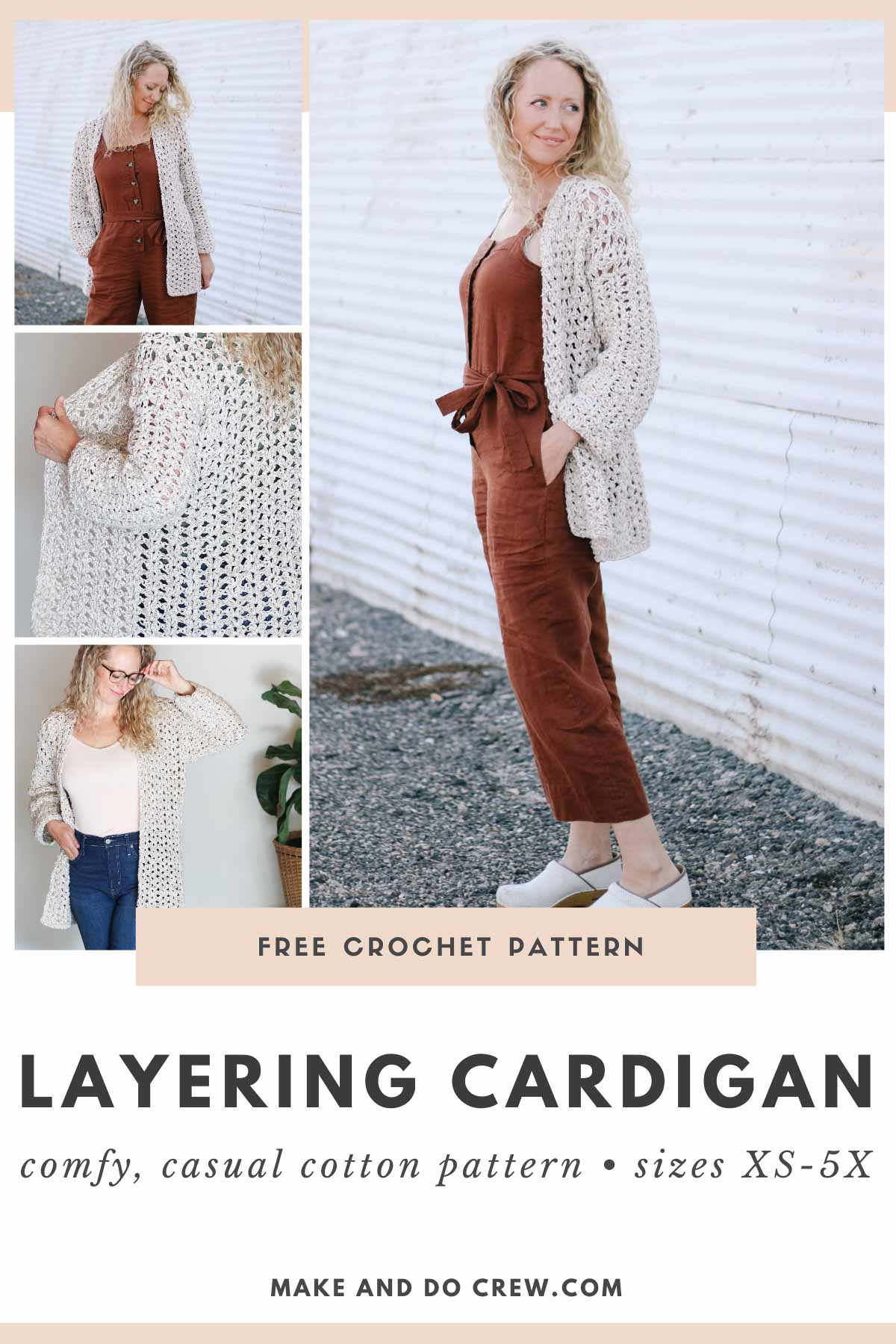 A grid of photos of a woman wearing a simple crochet jacket made with the iris stitch and Lion Brand Twisted Cotton Blend yarn.