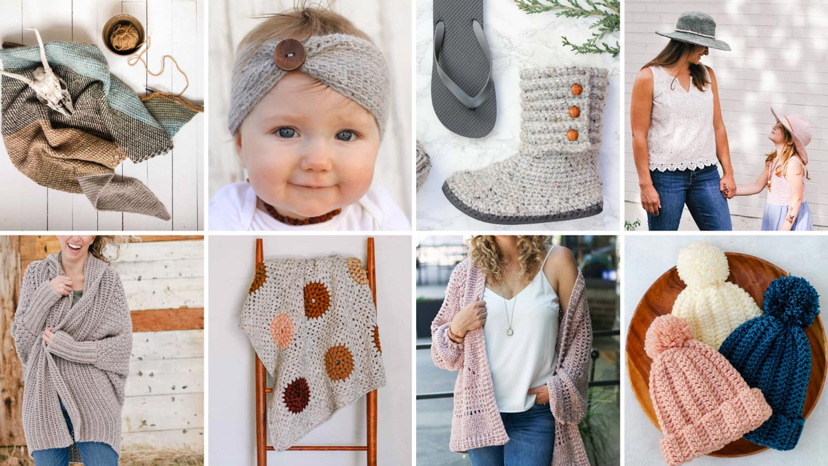 A grid of eight modern free crochet patterns from Make & Do Crew (Jess Coppom).