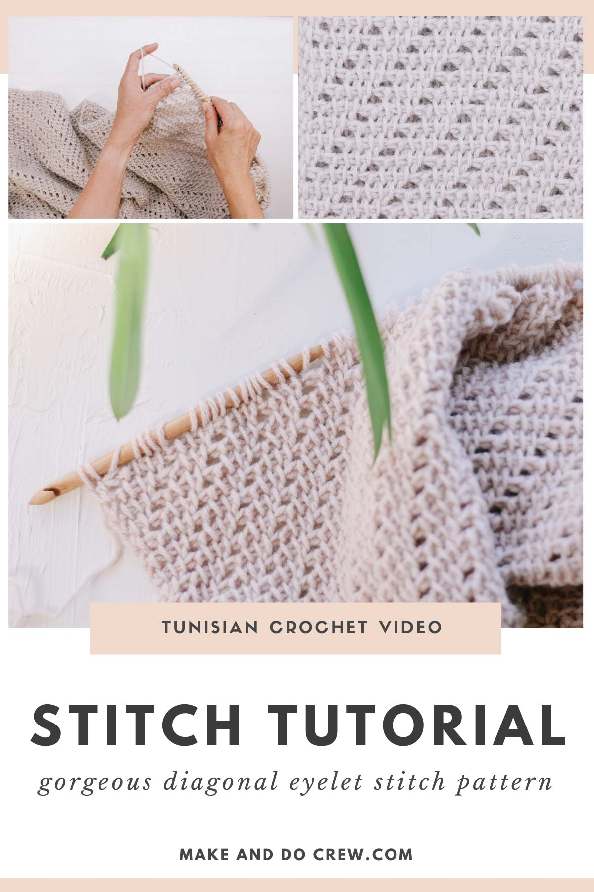 This beautiful Tunisian crochet stitch includes simple, modern eyelets that create a drapy and flowy fabric.