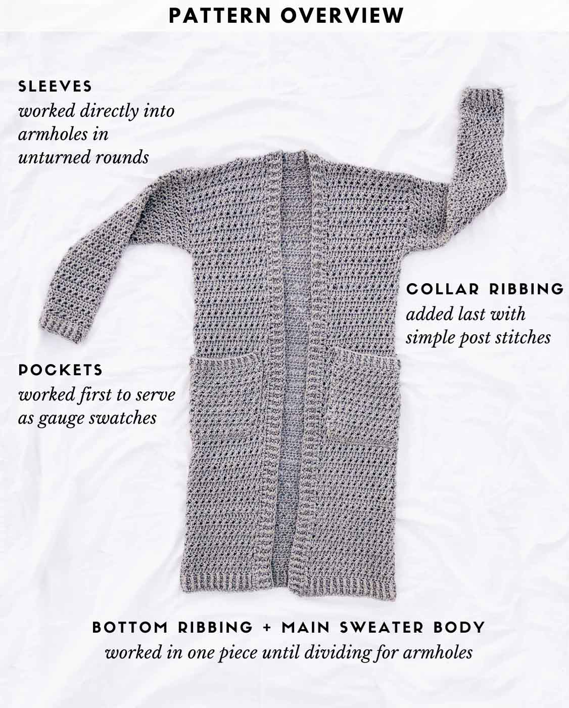 A drapey, long crochet duster pattern explained via a photo of the sweater laying on a white background.