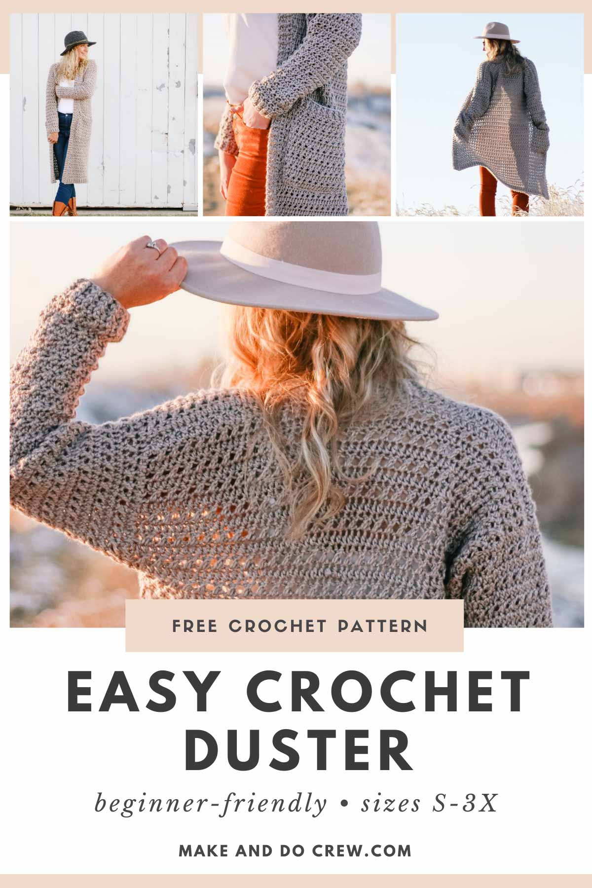 """A collection of photos of a Woman wearing a long crochet duster cardigan made with Lion Brand Heartland yarn in the color """"Grand Canyon."""""""