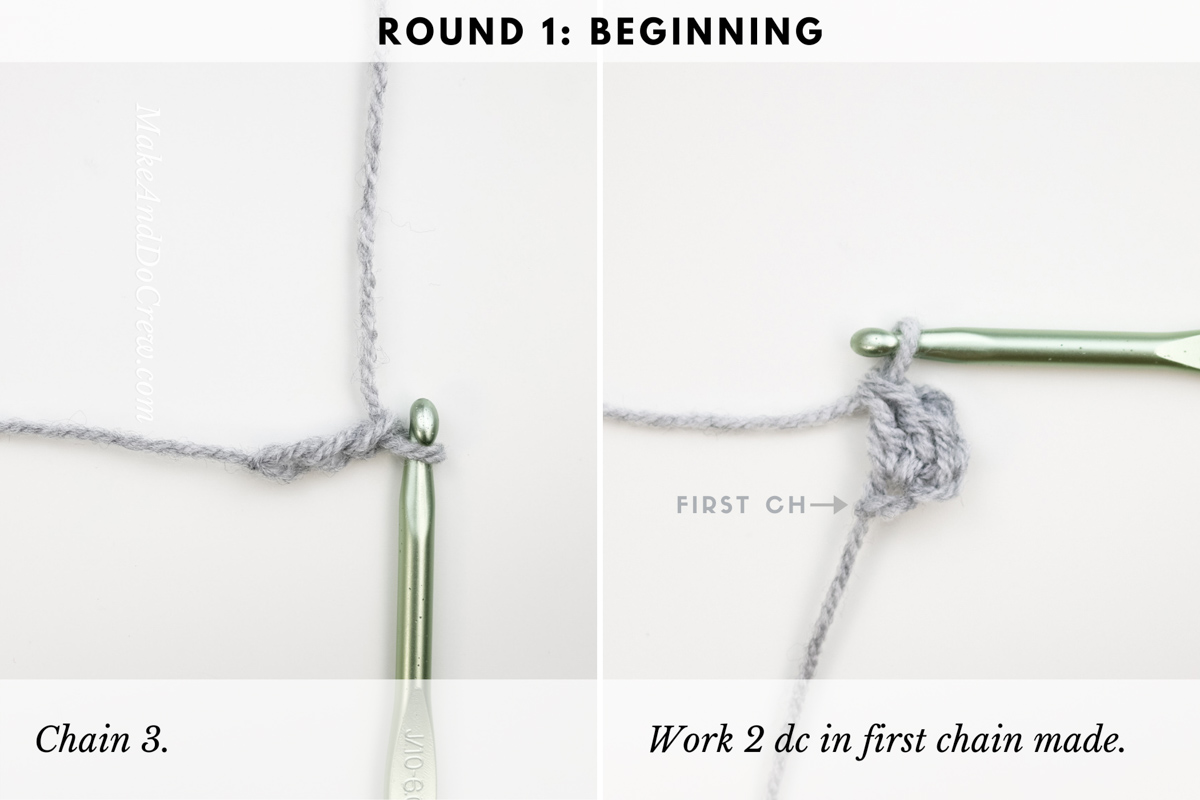 This detailed photo tutorial shows how to start the crochet boxed block stitch in a square.