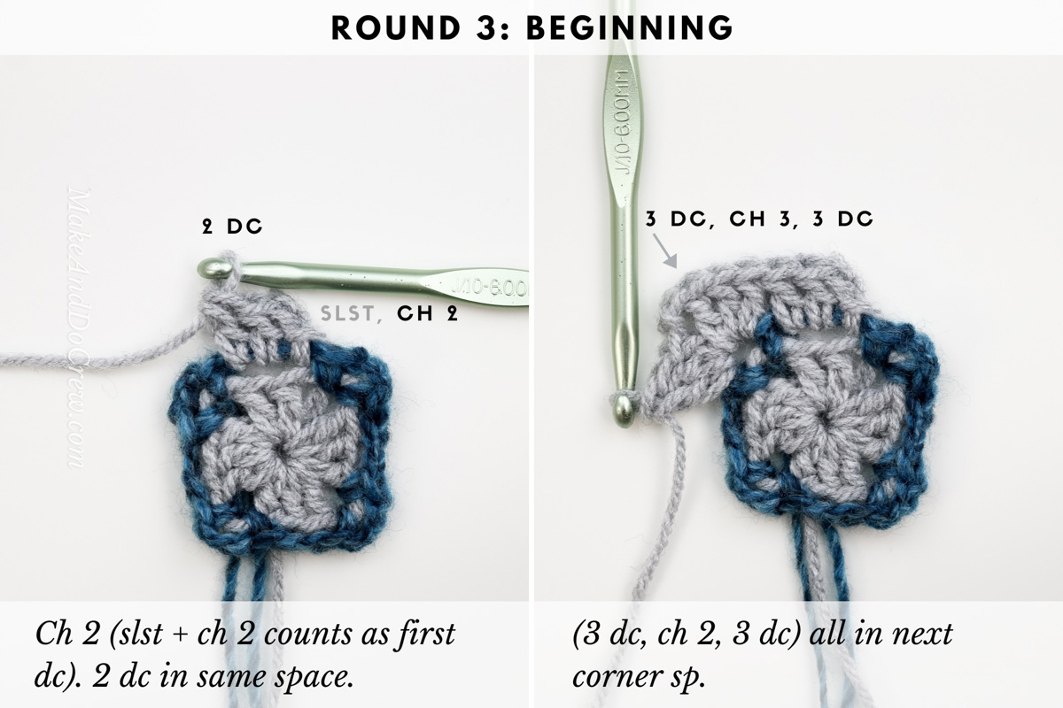 Round 3: photo tutorial showing the boxed block stitch worked in the round.