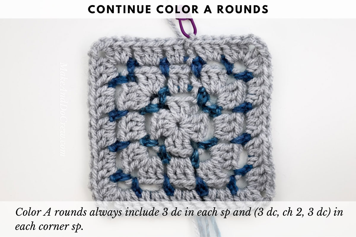 Tutorial showing the crochet block stitch worked in the round to create a square without cutting yarn each round. (Double crochet round.)