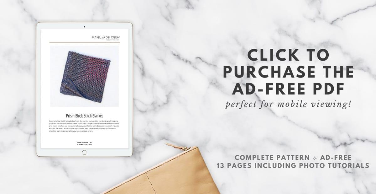 Prism Crochet Baby Blanket pattern shown on an ipad screen.
