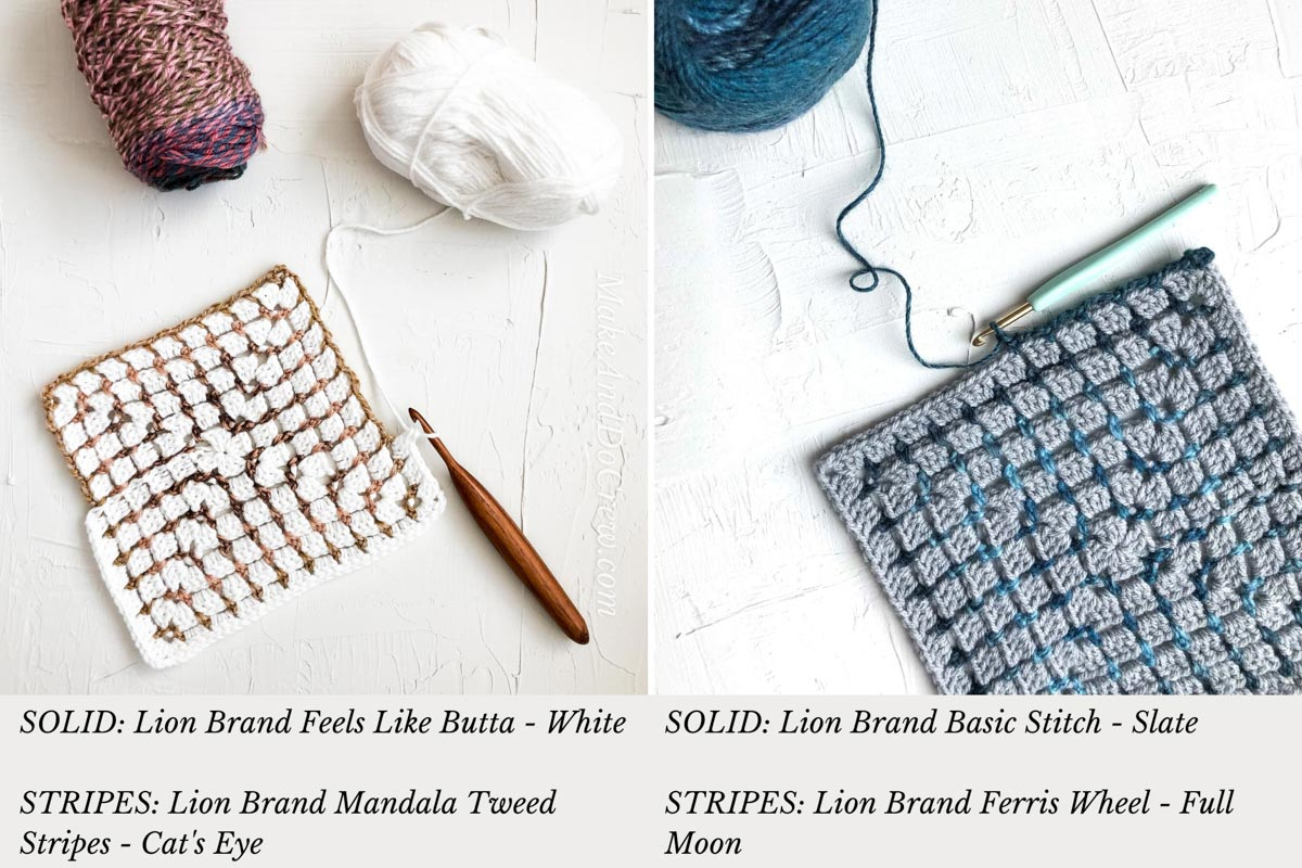 Two different crochet swatches made with Lion Brand Feels Like Butta, Mandala Tweed Stripes, Basic Stitch and Ferris Wheel. Both swatches are made using the crochet boxed block stitch.