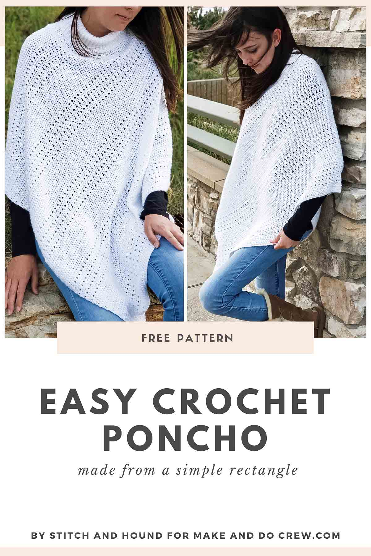 Two photos of a woman wearing a drapey crochet poncho made from an easy rectangle. Featuring Lion Brand Amazing Lace yarn.