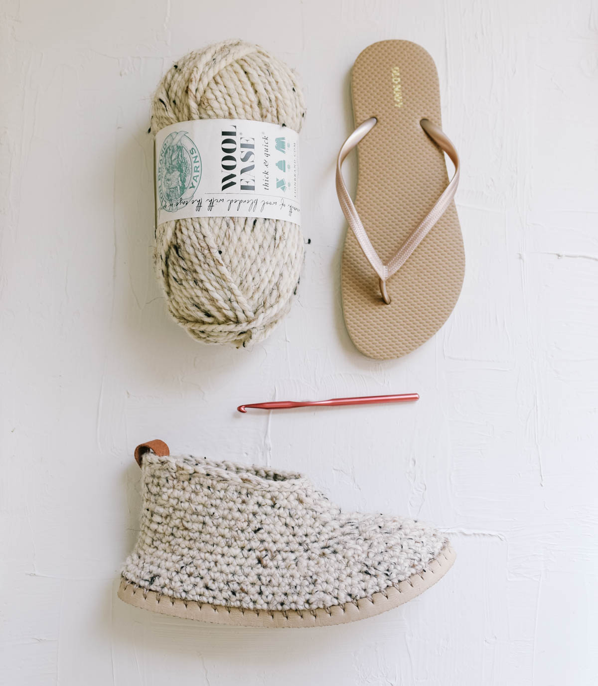 Crochet chukka slippers made with a flip flop sole and Lion Brand Wool-Ease Thick & Quick yarn.