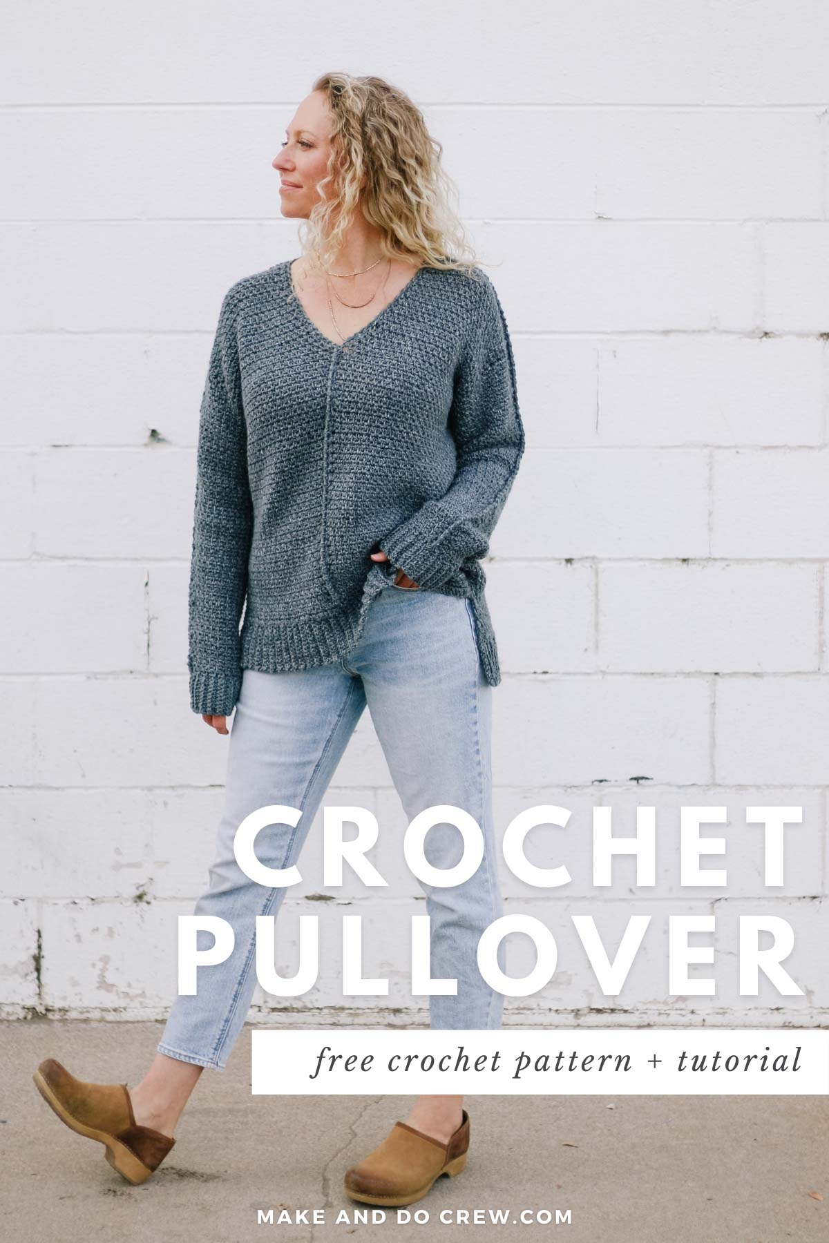 Woman wearing casual crochet jumper sweater pattern made with Lion Brand Jeans yarn.