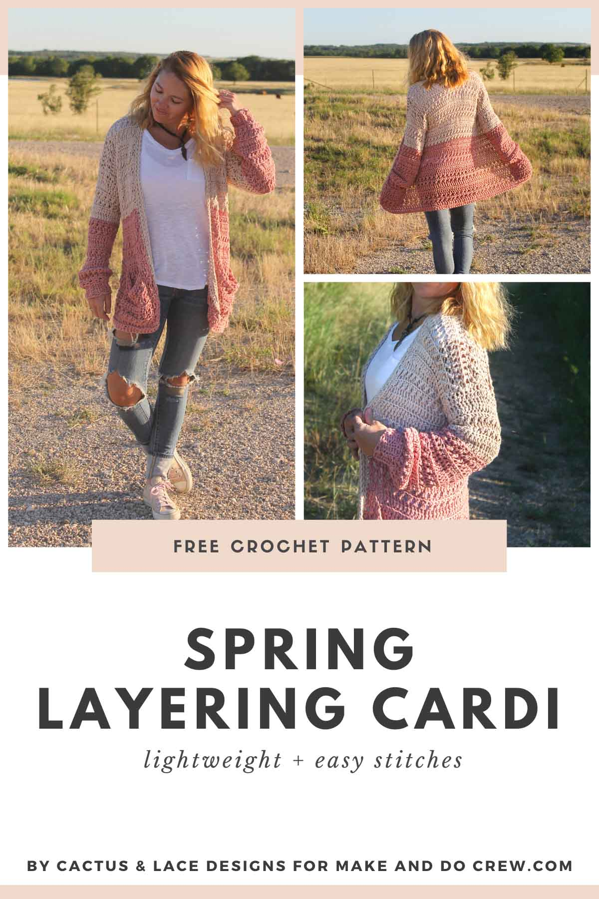 Lion Brand Coboo free crochet pattern: a color block cardigan with plus sizes.