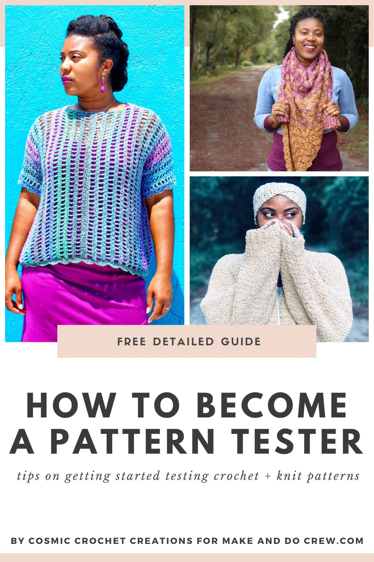 Nkese Lewis, pictured here wearing a variety of knit and crochet garments, provides tips on how to become a crochet pattern tester.