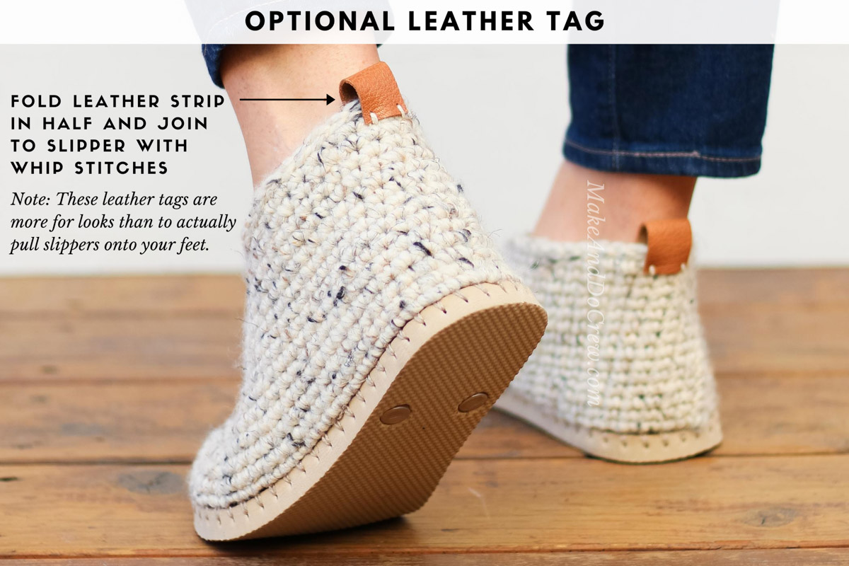 How to add a leather tag to a crochet project, such as crochet sweater boots with flip flop soles.