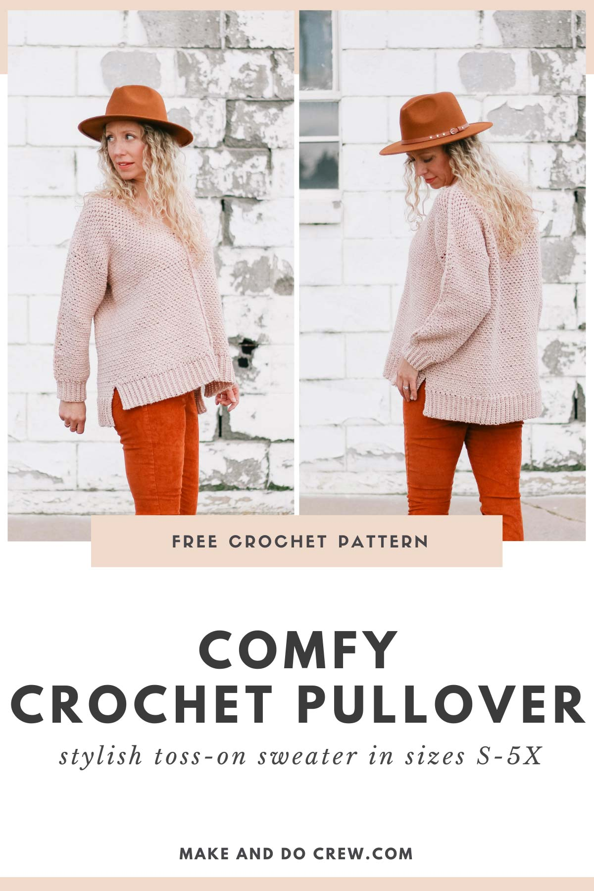 Woman wearing casual crochet pullover patter with a high low hem.