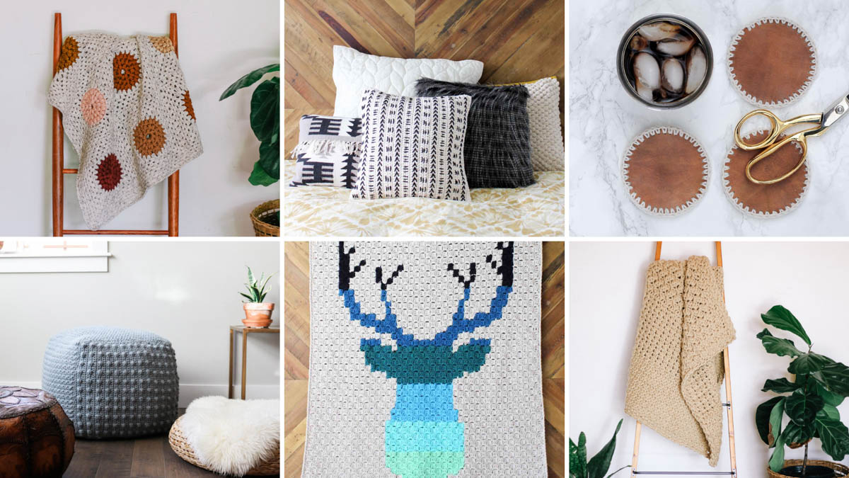 Free crochet patterns from Make & Do Crew for home decor including blankets, pillows, coasters and more.