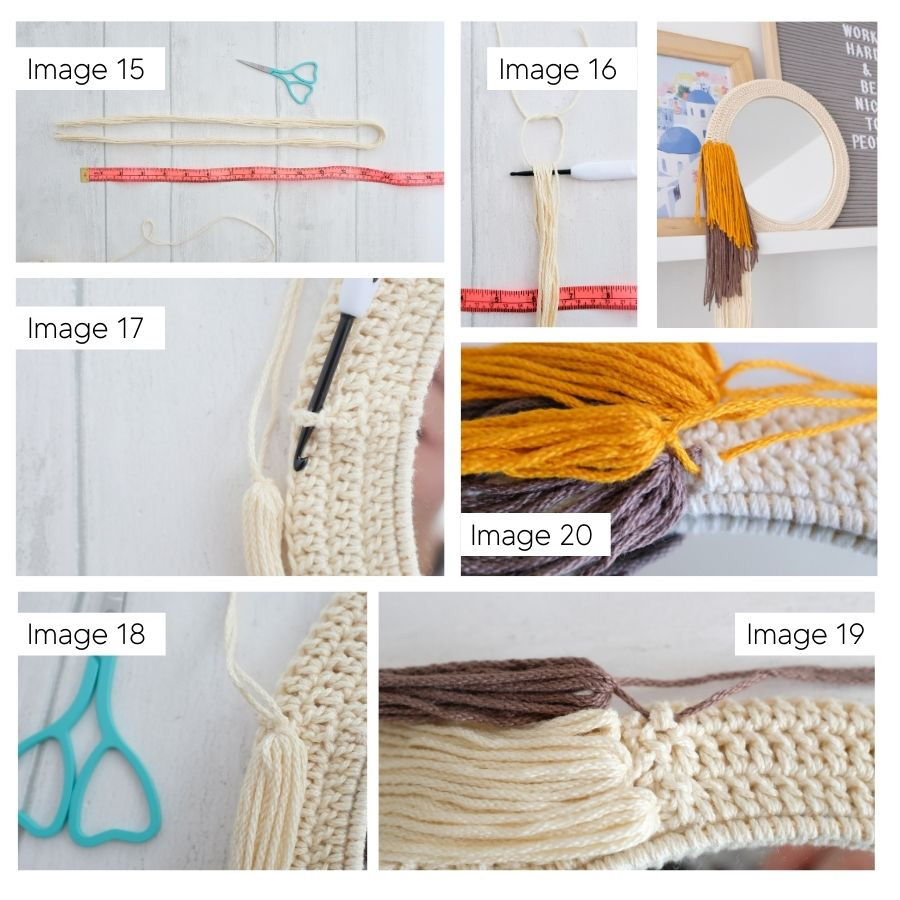 Tutorial showing how to crochet a circular mirror to hang on the wall. Free pattern featuring Lion Brand 24/7 Cotton.