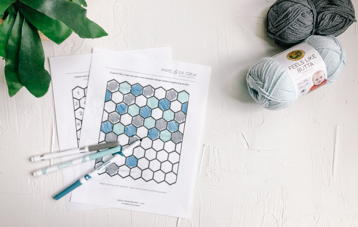 Printout of a hexagon chart to color in and design your own crochet blanket or quilt.