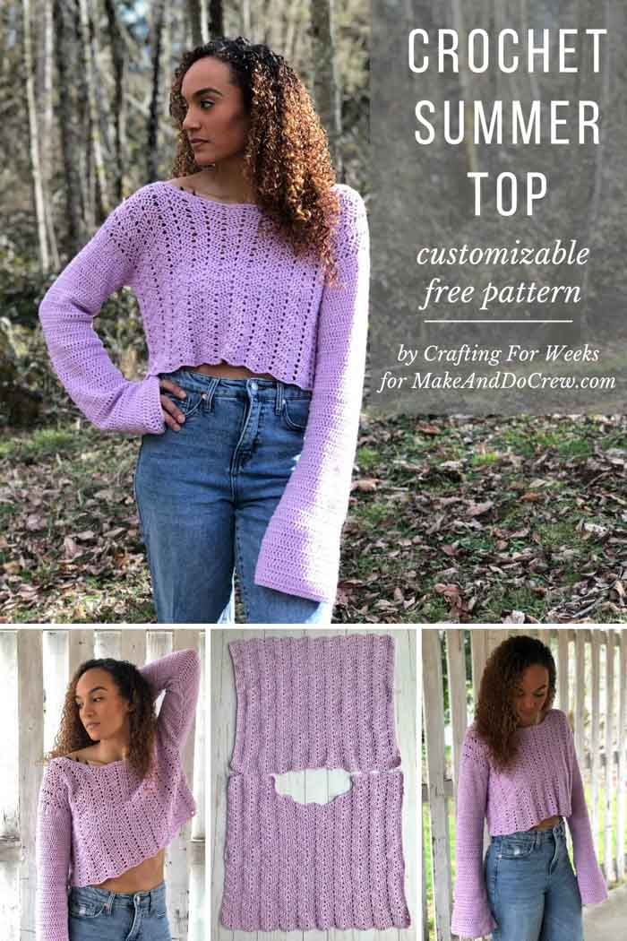 Add some sass to your style with this cropped crochet summer top with bell sleeves. Sassy not your thing? This lacy crochet sweater is easily customizable to be full length, short sleeve, sleeveless--whatever your heart (and hook) desires.