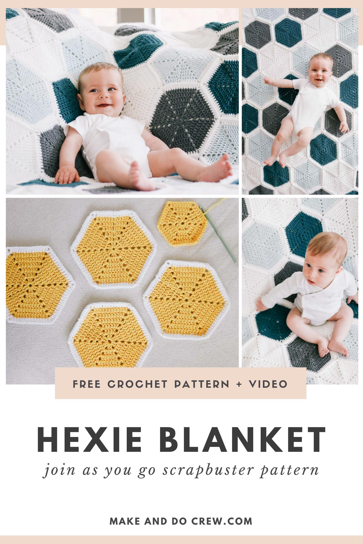 A grid of photos of a modern crochet join as you go hexagon blanket. A cute baby lays on top of the blanket made with Lion Brand Feels Like Butta yarn.