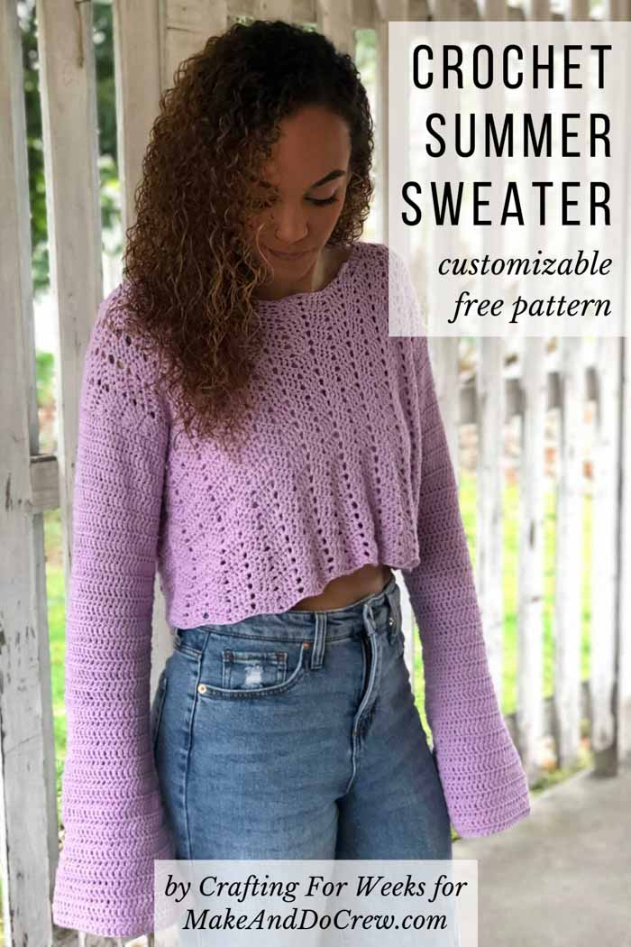 This cropped crochet lace sweater is easy to make longer. Free pattern!