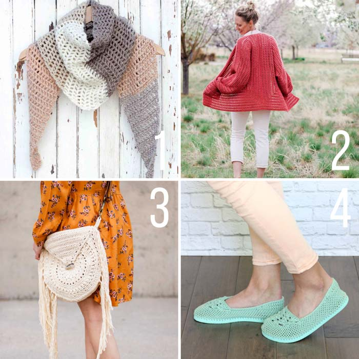 Free crochet patterns for summer including flip flop slippers, a hexagon sweater, a triangle scarf and a boho purse.