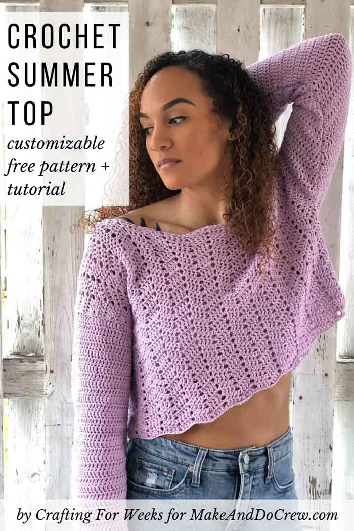 This easy crochet lace top can be customized to be longer or short sleeved if you wish. Free pattern featuring Lion Brand Coboo Cotton.