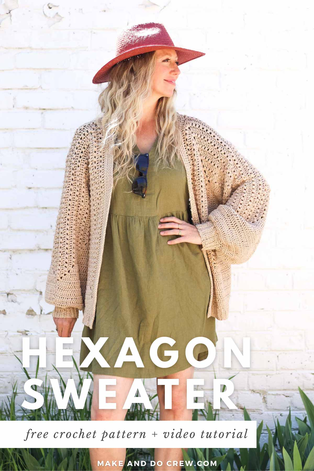 """A blonde woman wearing a linen dress and a crochet hexagon cardigan made with Lion Brand Coboo in the color """"Beige."""""""