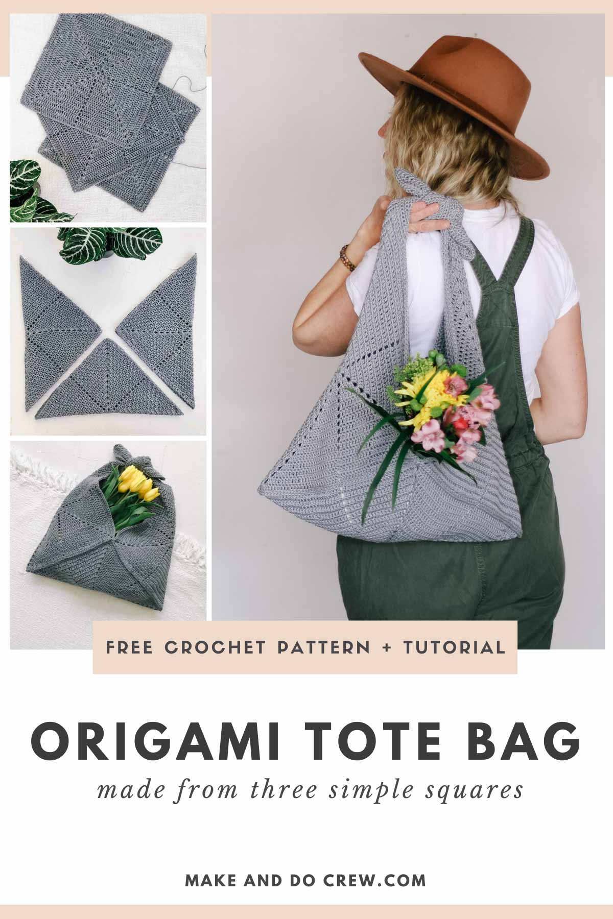A grid of photos showing how a crochet tote bag is made from three basic squares.