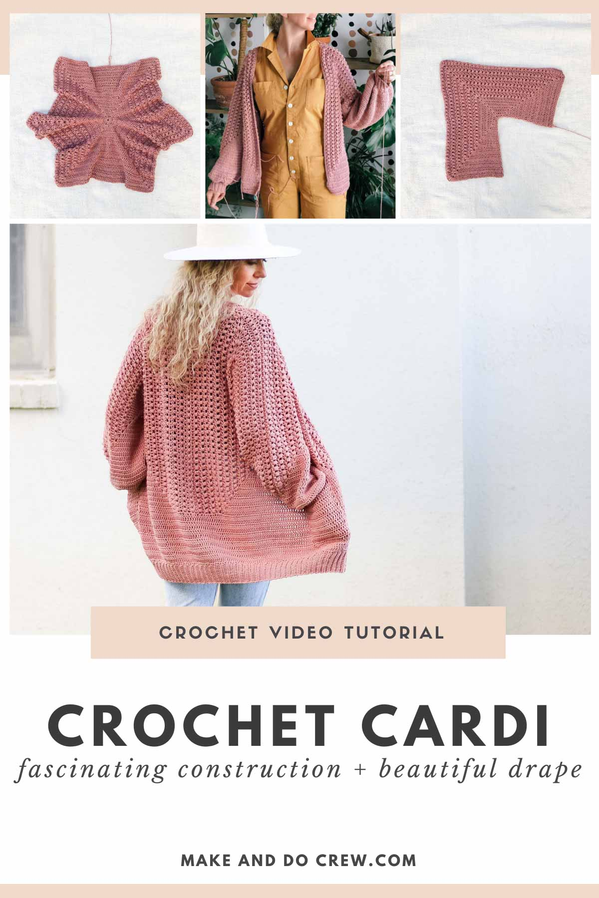 """A blonde woman wearing a floral dress and a crochet hexagon cardigan made with Lion Brand Coboo in the color """"Beige"""" and """"Mauve."""""""
