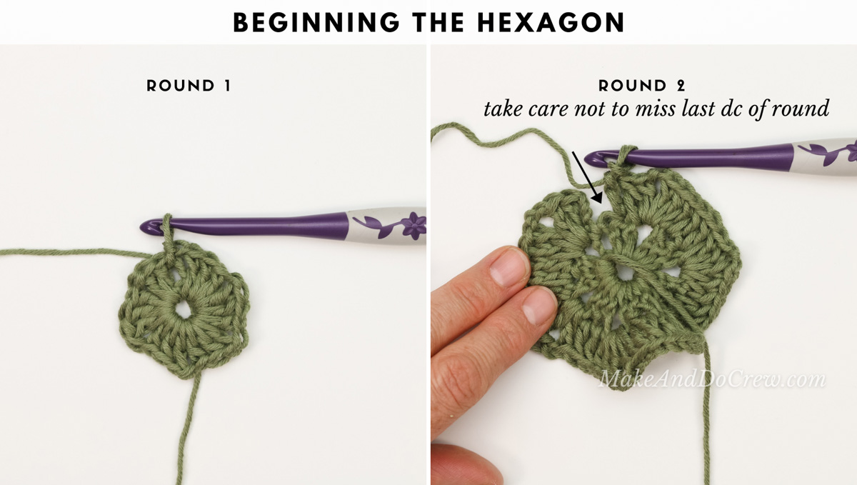 A photo tutorial showing how to crochet a hexagon.