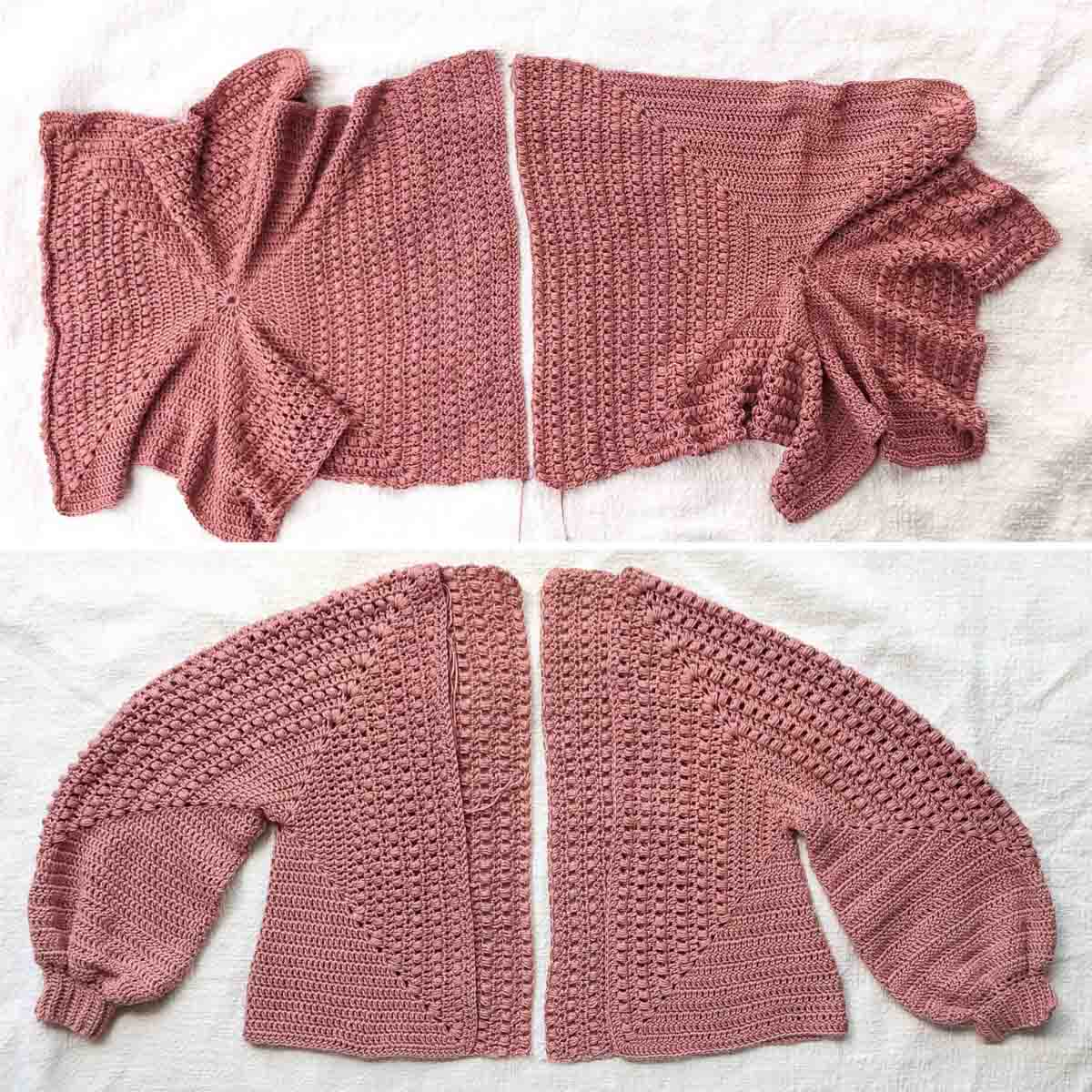 Two overhead views of crochet hexagons: laid out flat and folded into the sleeves and body of a crochet cardigan.