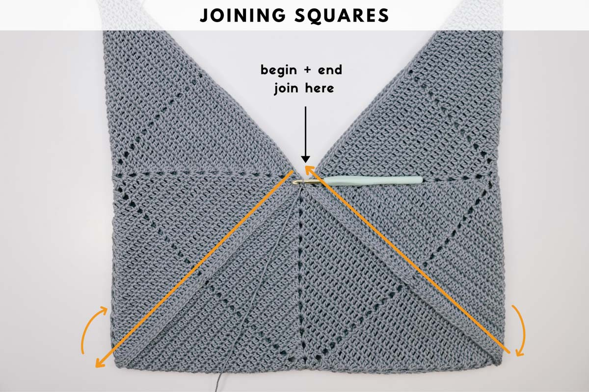 Photo tutorial showing how to join crochet squares together in the Tradecraft Origami Tote Bag pattern.