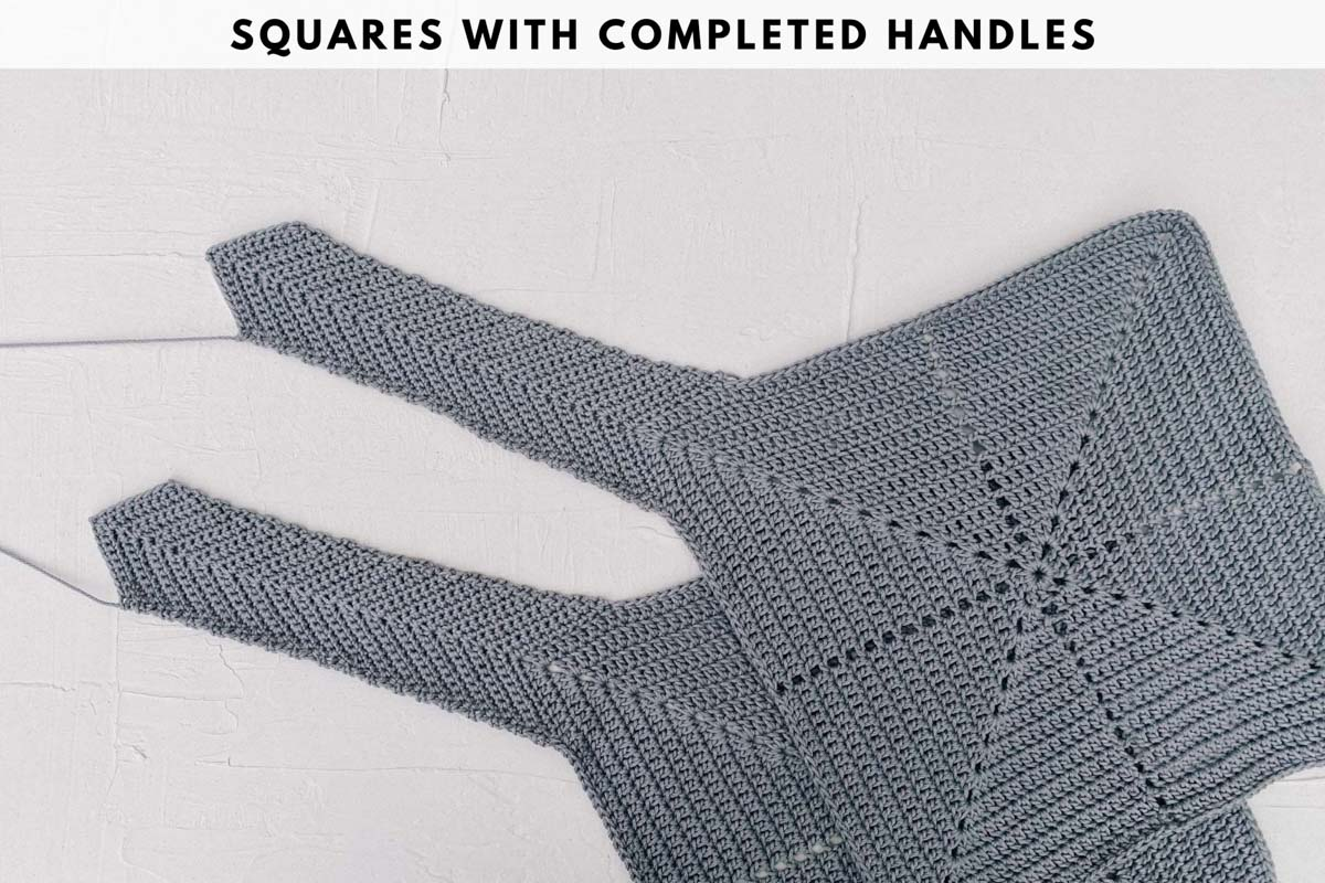 Photo tutorial showing finished handles on an origami crochet bag made with Lion Brand 24/7 Cotton in the color Silver.