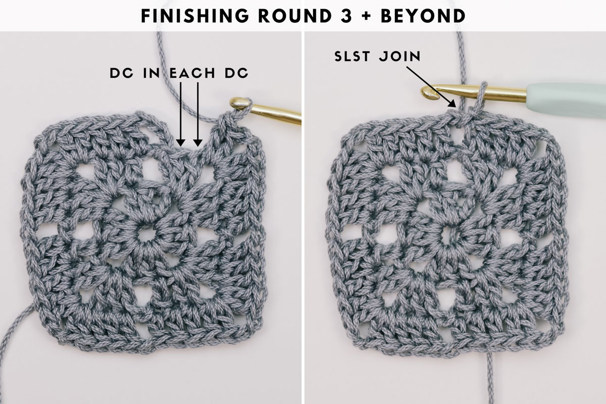 Photo tutorial showing how to crochet a square with delicate eyelets in the corner spaces.