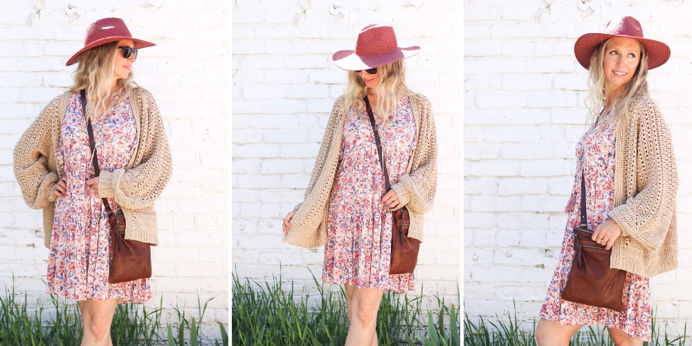 """A blonde woman wearing a floral dress and a crochet hexagon cardigan made with Lion Brand Coboo in the color """"Beige."""""""