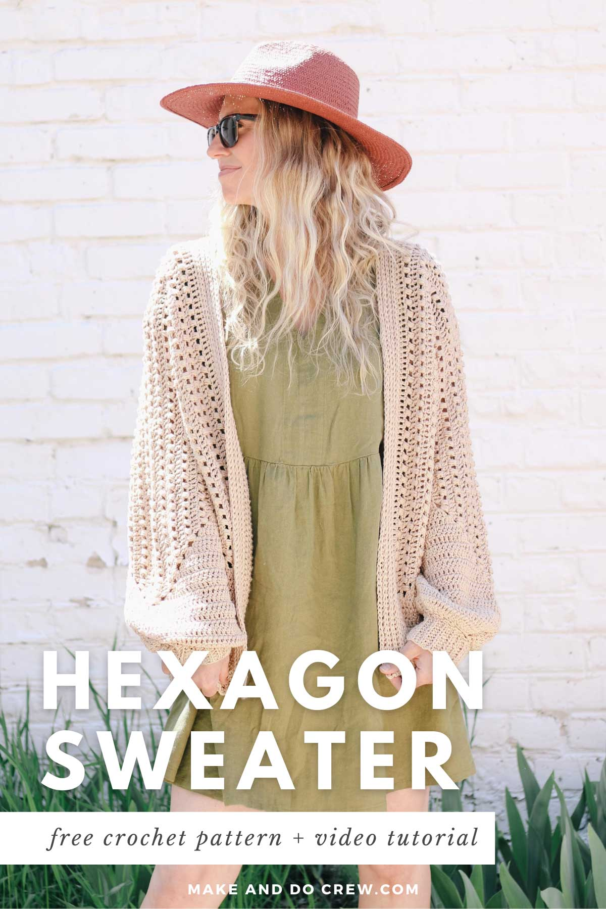 """A blonde woman wearing a green linen dress and a crochet hexagon cardigan made with Lion Brand Coboo in the color """"Beige."""""""