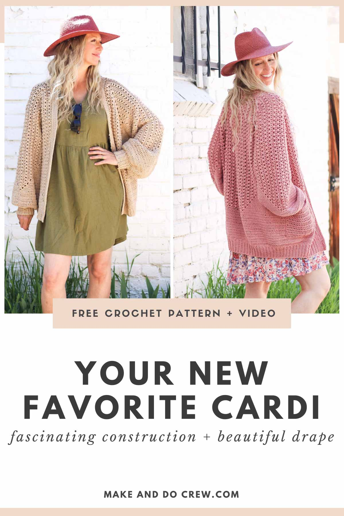 A blonde woman wearing two different versions of a crochet hexagon cardigan made from Lion Brand Coboo yarn.