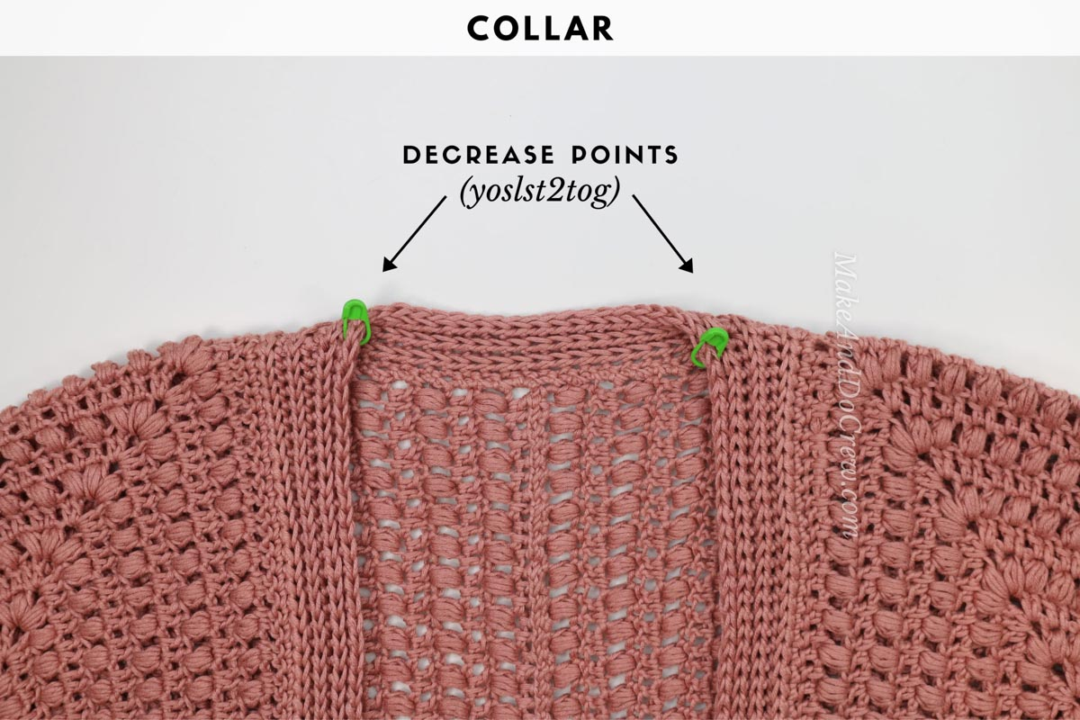 How to crochet a knit-look collar with yarn over slip stitches.