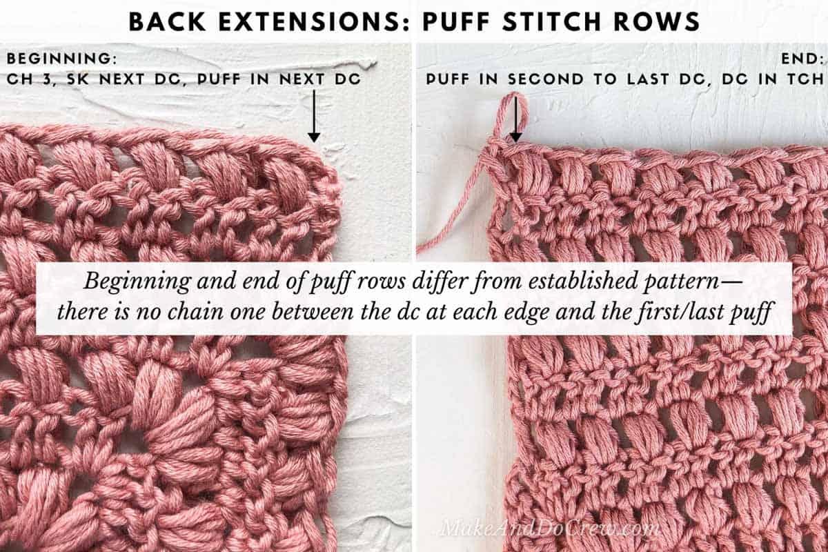 Photo tutorial using Lion Brand Coboo yarn (Mauve) showing how to crochet the Mezzo Cardigan pattern.
