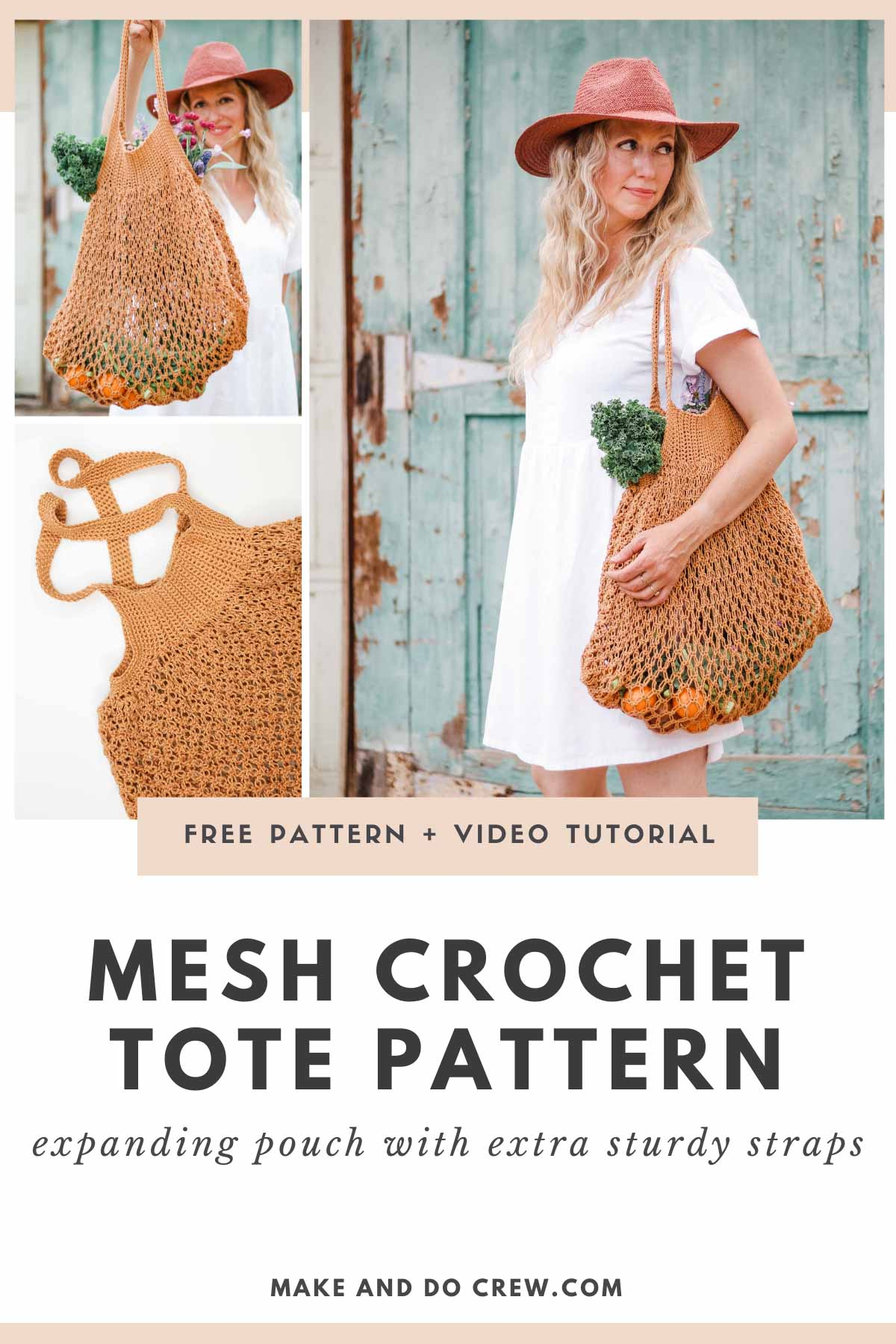 A grid of images showing a handmade crochet market tote bag made with sturdy cotton yarn.