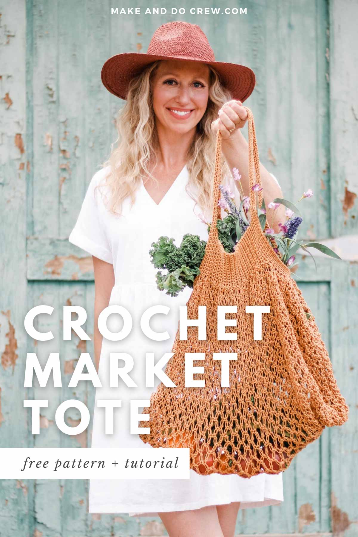 A woman in the background holding a mesh crochet market tote bag filled with fresh produce.