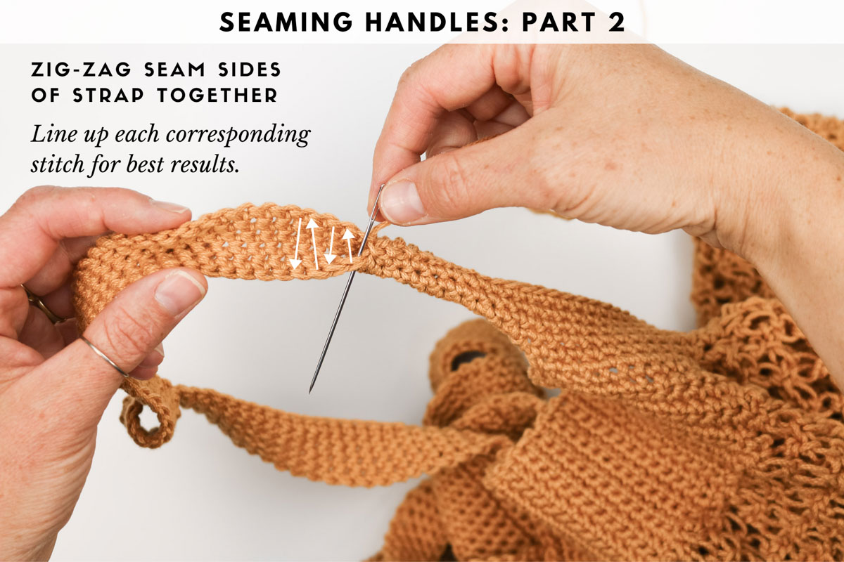 A tutorial showing how to crochet sturdy handles on a market tote bag pattern.