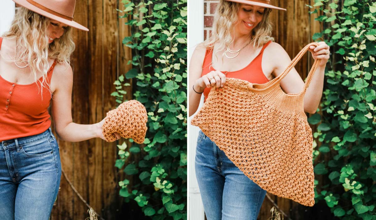 A woman holding a crochet mesh market tote bag that can pack down to a very small ball or expand to hold lots of groceries.