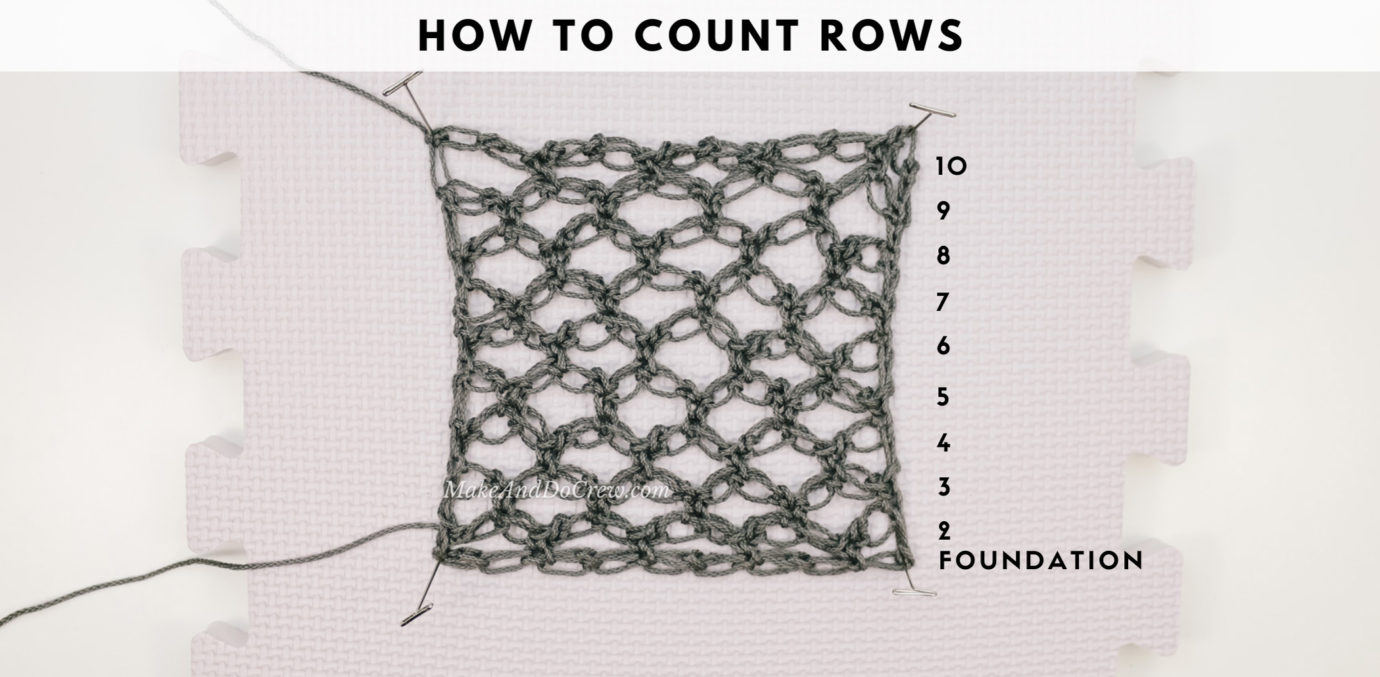 A tutorial showing how to count the rows of the mesh, lace Solomon's Knot crochet stitch.
