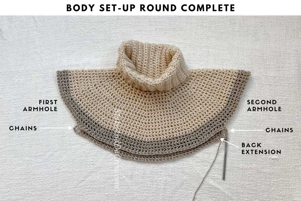 Tutorial teaching how to crochet a yoke sweater, specifically how to set up the armhole/sleeve rounds.